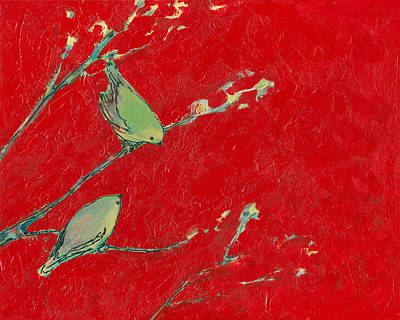 Birds In Red Poster by Jennifer Lommers