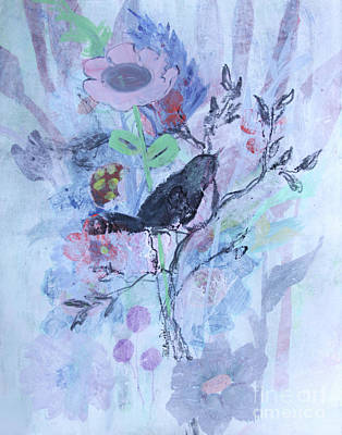 Poster featuring the painting Birds Just Wanna Have Fun by Robin Maria Pedrero
