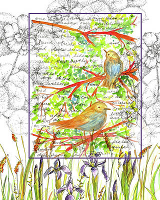 Poster featuring the painting Bluebirds Nature Collage by Cathie Richardson