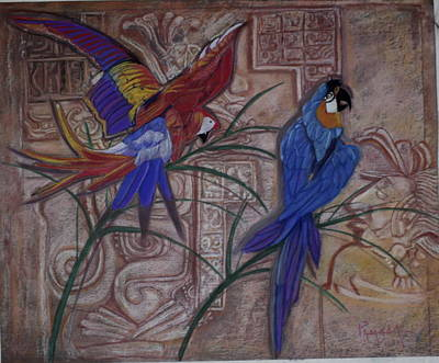 Birds On A Mayan Wall Poster