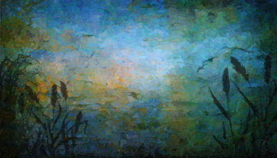 Birds Over The Lake Poster by Kathie Miller