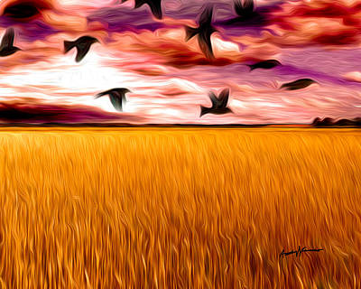 Birds Over Wheat Field Poster