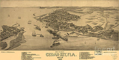 Birdseye View Of Cedar Key, Florida Poster by Celestial Images
