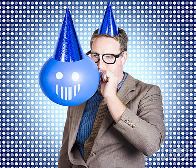 Birthday Businessman Blowing Up Smiling Balloon Poster