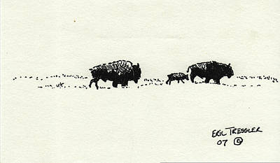 Bison Family Poster by Eric Tressler