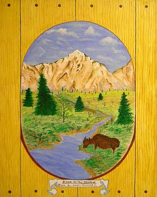 Bison In The Meadow Poster by Robert Provencial