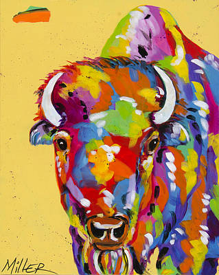 Bison In Yellow Poster by Tracy Miller