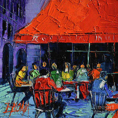 Bistrot Rouge Rendezvous Poster by Mona Edulesco