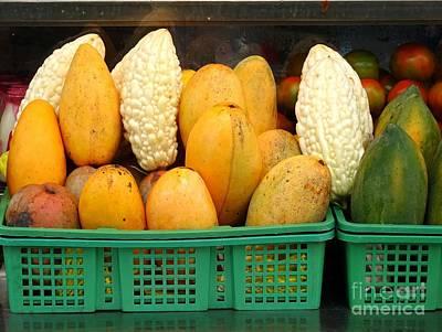 Bitter Gourds, Mangos And Papayas Poster