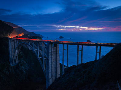 Bixby Canyon Bridge Sunset Poster