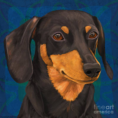 Black And Gold Dachshund Portrait On Blue Poster