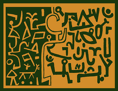 Poster featuring the digital art Black And Orange Klee by Vagabond Folk Art - Virginia Vivier