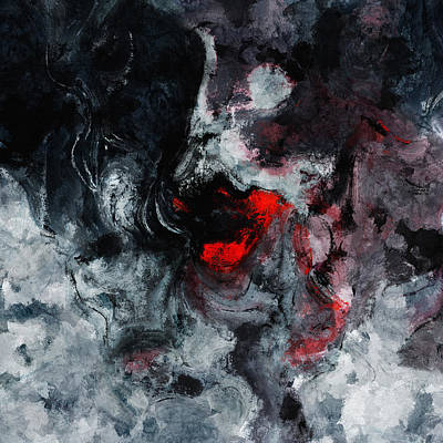Black And Red Abstract Painting  Poster by Ayse Deniz