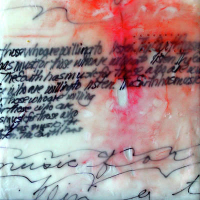 Poster featuring the painting Black And Red Encaustic 1 by Nancy Merkle