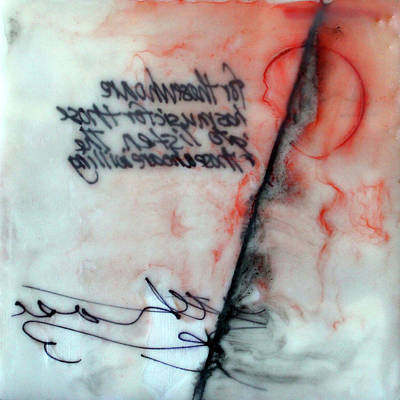 Poster featuring the painting Black And Red Encaustic 2 by Nancy Merkle