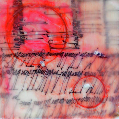 Poster featuring the painting Black And Red Encaustic 3 by Nancy Merkle