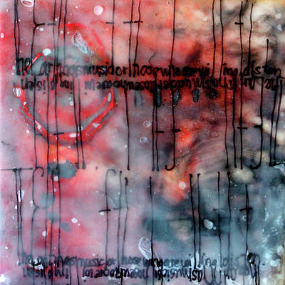 Poster featuring the painting Black And Red Encaustic 4 by Nancy Merkle