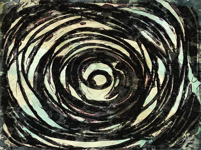 Poster featuring the painting Black And White Abstract Curves by Joan Reese