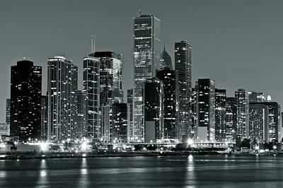 Poster featuring the photograph Black And White And Grey Chicago Night by Frozen in Time Fine Art Photography