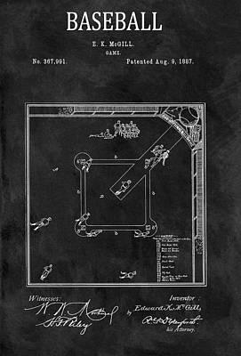 Black And White Baseball Game Patent Poster