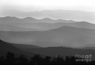 Black And White Blue Ridge Mountains Poster