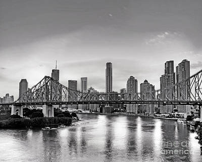 Black And White Brisbane Landscape Poster by Chris Smith