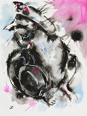 Poster featuring the painting Black And White Cat Sleeping by Zaira Dzhaubaeva