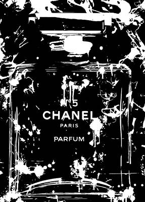 Black And White Chanel Splatter Poster by Dan Sproul