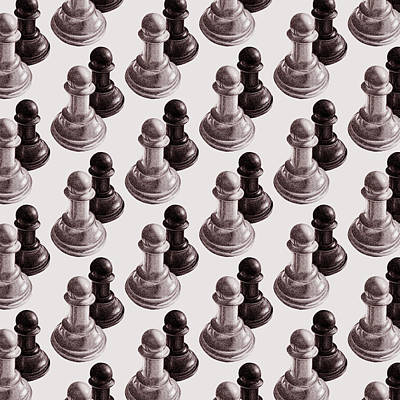 Black And White Chess Pawns Pattern Poster