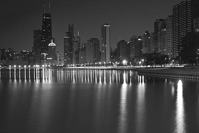 Black And White Chicago Skyline At Night Poster