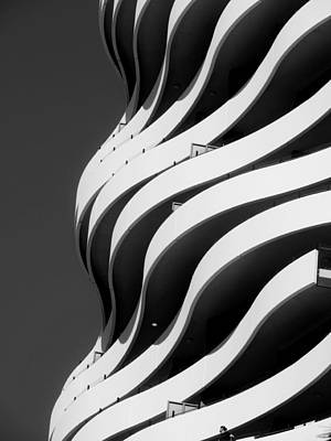 Black And White Concrete Waves Poster