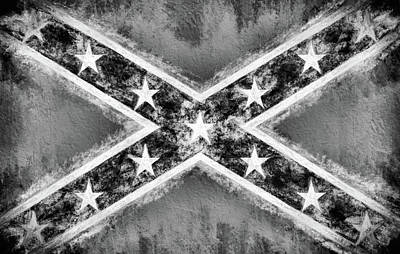 Black And White Confederate Flag Poster by Historic Galleries