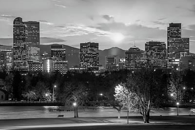 Black And White Denver Colorado Downtown Skyline Poster