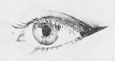 Black And White Digital Sketch Of Human Eye Poster