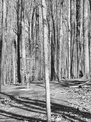 Black And White Disc Golf Basket Poster by Phil Perkins