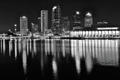 Black And White Harbor In Tampa Bay Poster by Frozen in Time Fine Art Photography