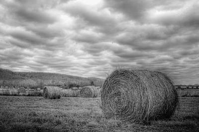 Black And White Hay Field Poster by Harold Stinnette