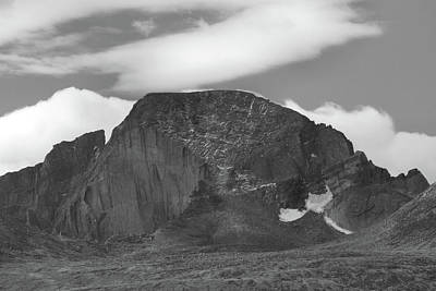 Poster featuring the photograph Black And White Longs Peak Detail by Dan Sproul