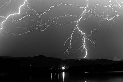 Black And White Massive Lightning Strikes Poster by James BO  Insogna