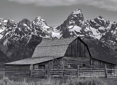 Black And White Moulton Barn Poster