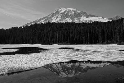 Black And White Mount Rainier Reflection Lake Poster by Dan Sproul