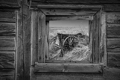 Black And White Of Barn Window And Farm Wagon Poster