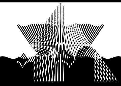 Black And White Optical Illusion Artwork Poster by Georgeta Blanaru