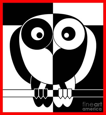 Black And White Owl Poster by Santi Goma Rodriguez
