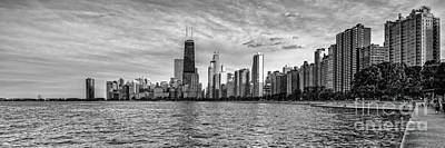 Black And White Panorama Of Chicago From North Avenue Beach Lincoln Park - Chicago Illinois Poster by Silvio Ligutti