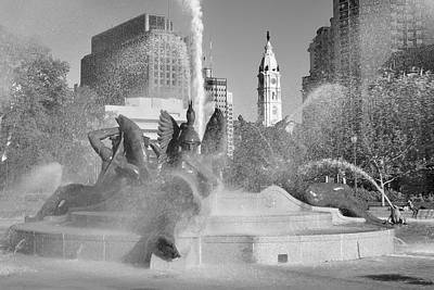 Black And White Philadelphia - Logan Circle Water Fountain  Poster by Bill Cannon