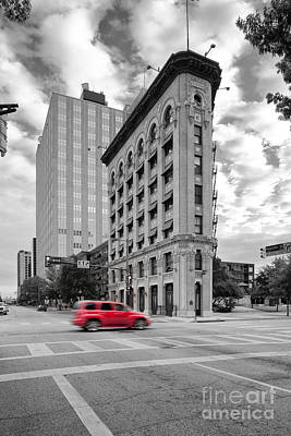 Black And White Photograph Of The Flatiron Building In Downtown Fort Worth - Texas Poster by Silvio Ligutti