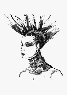 Poster featuring the digital art Black And White Punk Rock Girl by Marian Voicu