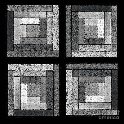 Black And White Quilt Squares Poster by Karen Adams