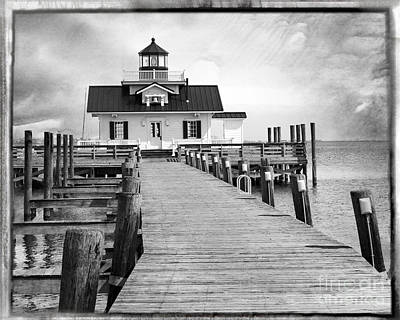 Black And White  Roanoke Lighthouse Poster by Tom Gari Gallery-Three-Photography